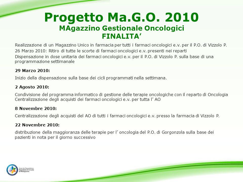 Progetto Ma.G.O. 2010 MAgazzino Gestionale Oncologici