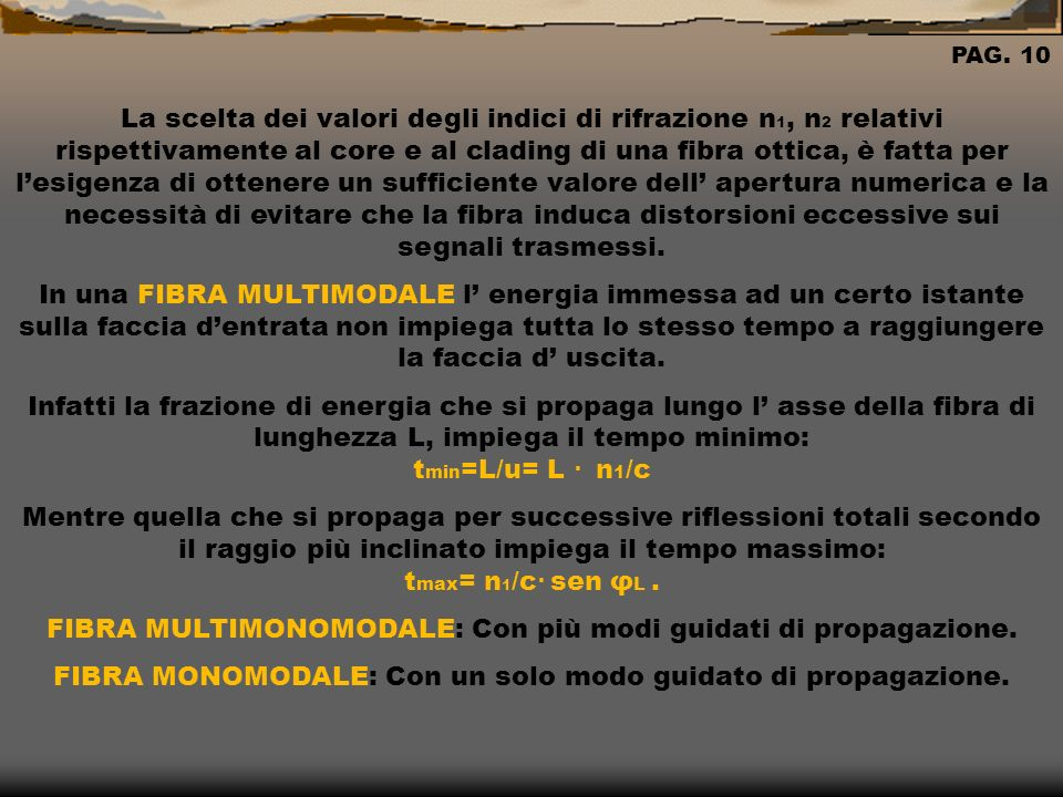 FIBRA MULTIMONOMODALE: Con più modi guidati di propagazione.