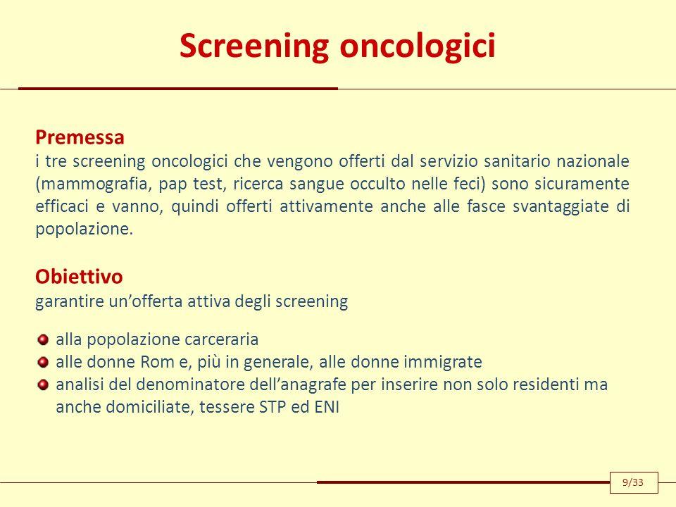 Screening oncologici Premessa Obiettivo