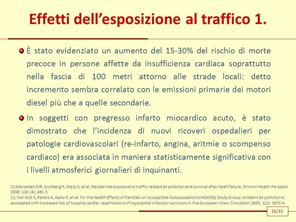 Effetti dell'esposizione al traffico 1.