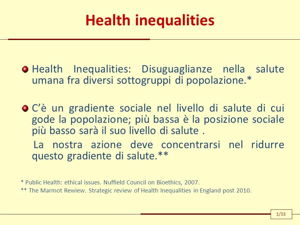 Health inequalities Health Inequalities: Disuguaglianze nella salute umana fra diversi sottogruppi di popolazione.*