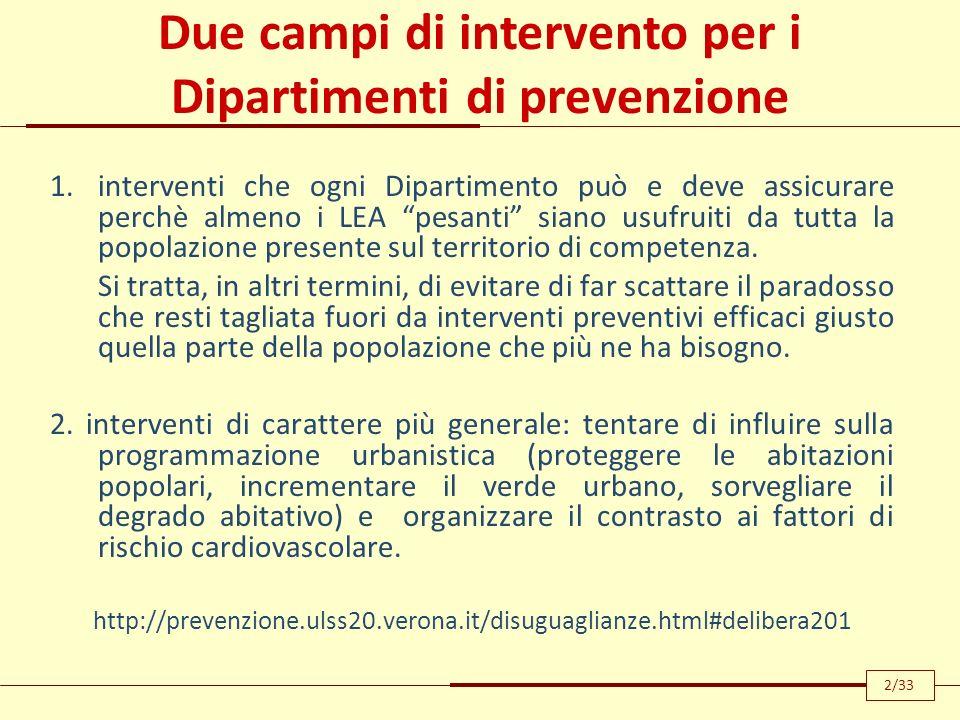 Due campi di intervento per i Dipartimenti di prevenzione