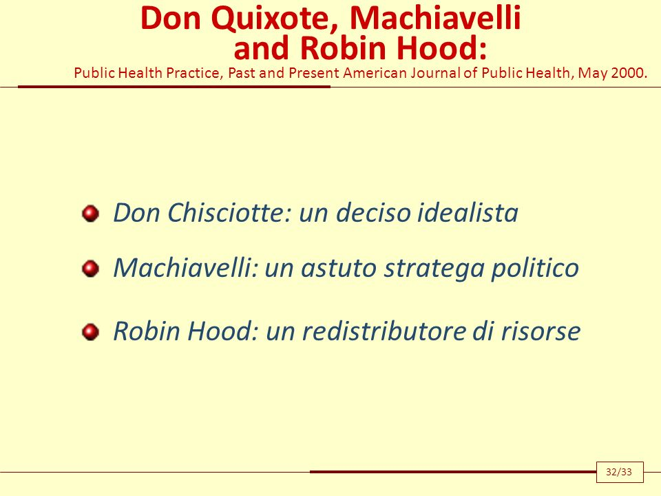 Don Quixote, Machiavelli and Robin Hood: Public Health Practice, Past and Present American Journal of Public Health, May 2000.