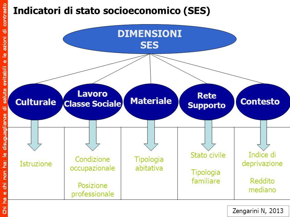 Indicatori di stato socioeconomico (SES)