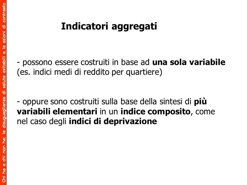 Indicatori aggregati - possono essere costruiti in base ad una sola variabile (es. indici medi di reddito per quartiere)