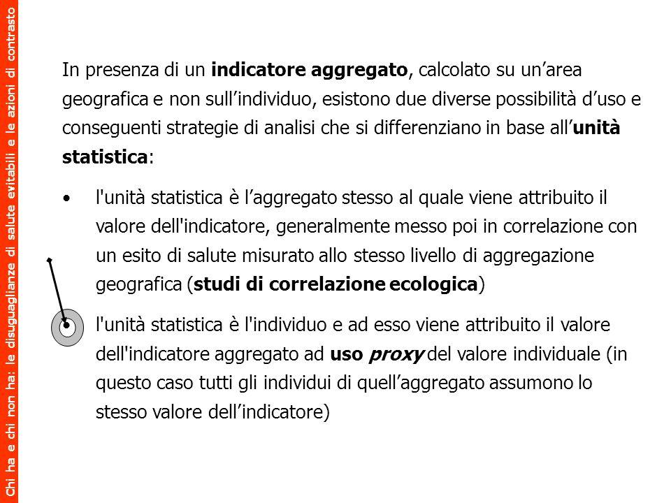 In presenza di un indicatore aggregato, calcolato su un'area geografica e non sull'individuo, esistono due diverse possibilità d'uso e conseguenti strategie di analisi che si differenziano in base all'unità statistica: