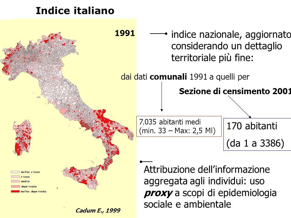Indice italiano 1991. indice nazionale, aggiornato considerando un dettaglio territoriale più fine: