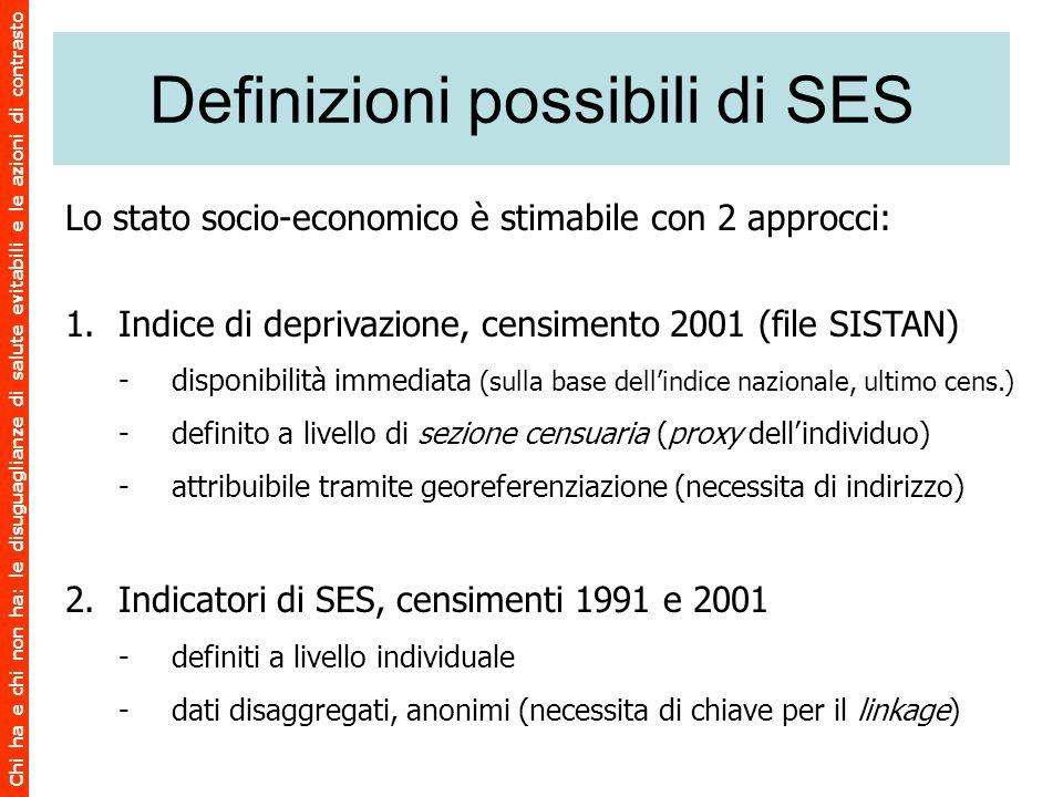 Definizioni possibili di SES