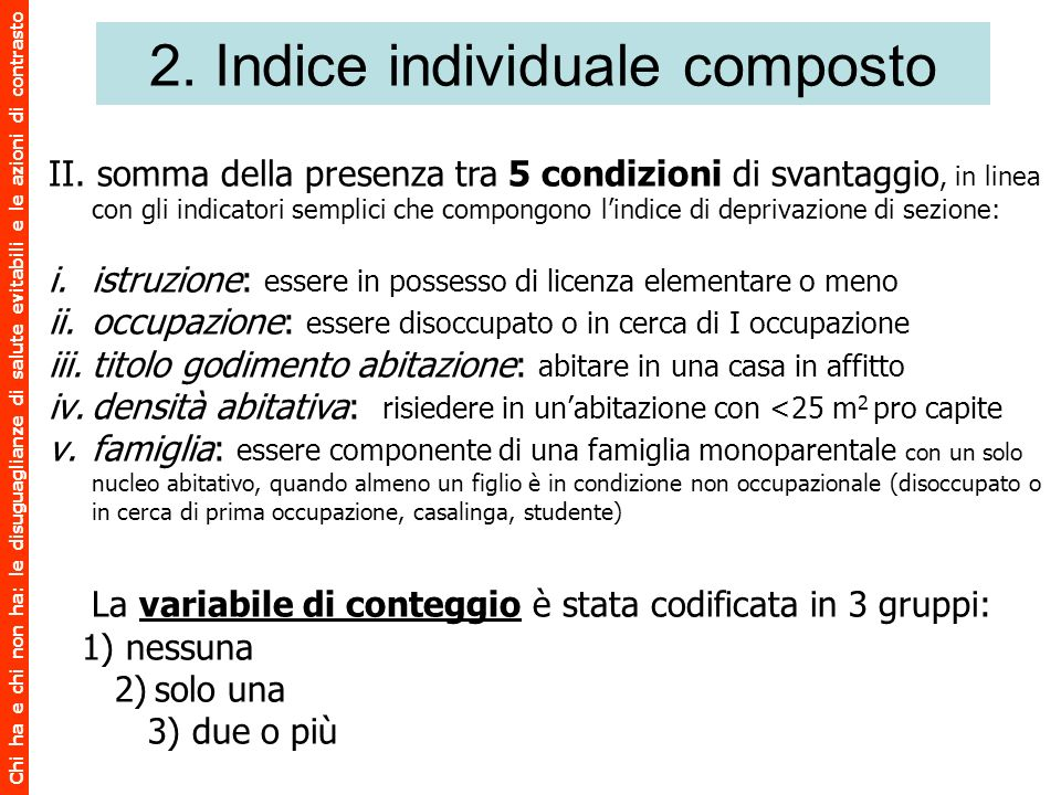 2. Indice individuale composto