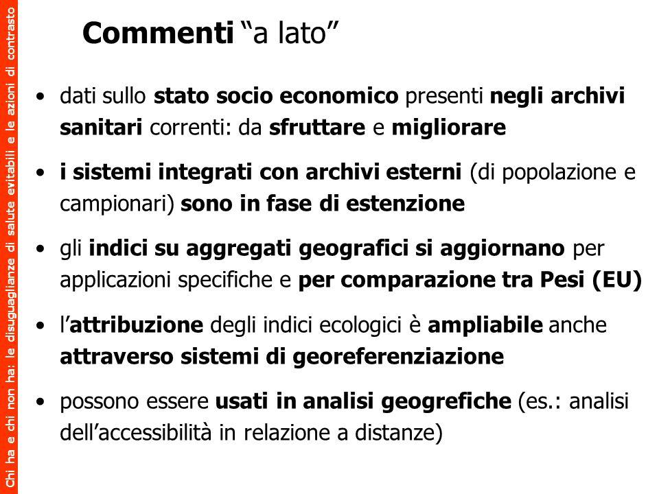 Commenti a lato dati sullo stato socio economico presenti negli archivi sanitari correnti: da sfruttare e migliorare.