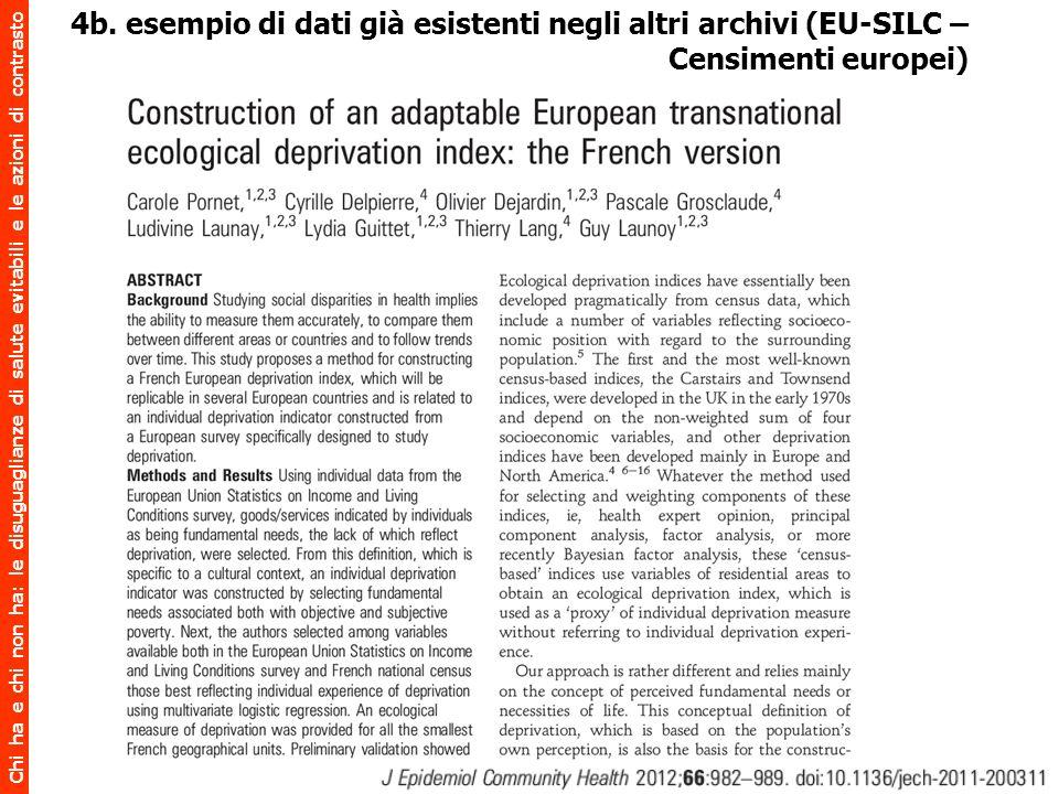 4b. esempio di dati già esistenti negli altri archivi (EU-SILC –Censimenti europei)