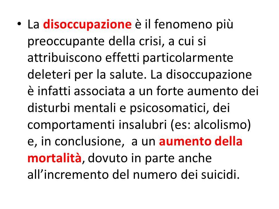 La disoccupazione è il fenomeno più preoccupante della crisi, a cui si attribuiscono effetti particolarmente deleteri per la salute.