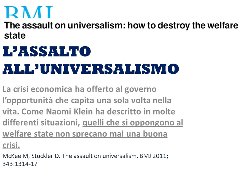 L'ASSALTO ALL'UNIVERSALISMO