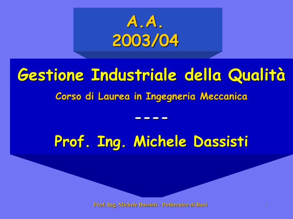 A.A. 2003/04 Gestione Industriale della Qualità