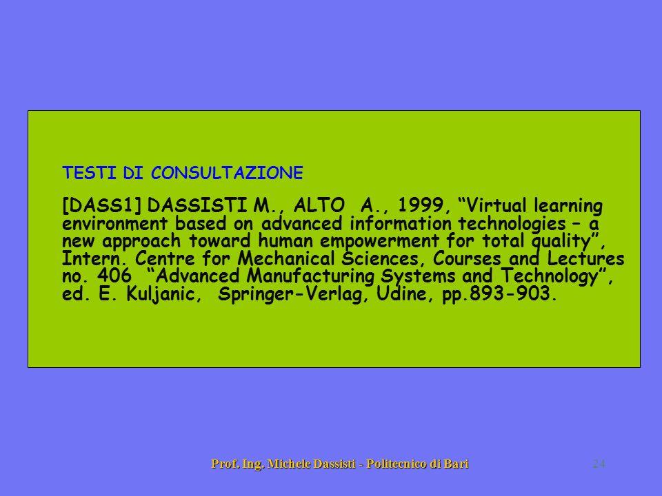 Prof. Ing. Michele Dassisti - Politecnico di Bari