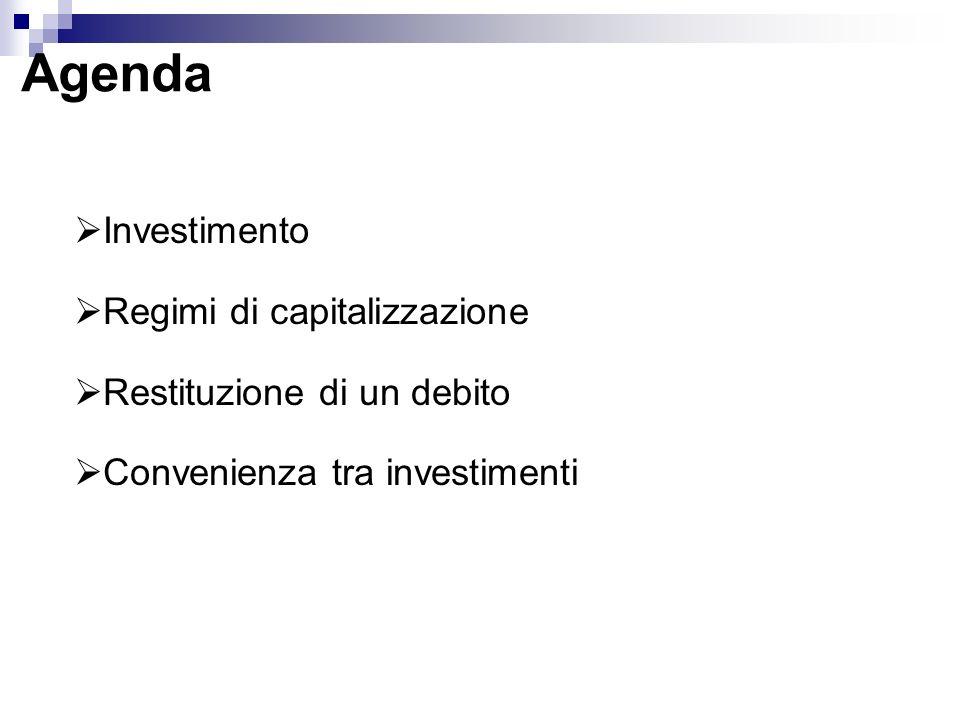 Agenda Investimento Regimi di capitalizzazione