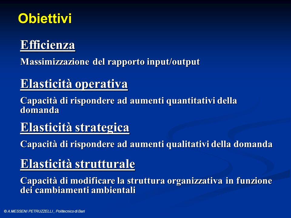 Obiettivi Efficienza Elasticità operativa Elasticità strategica