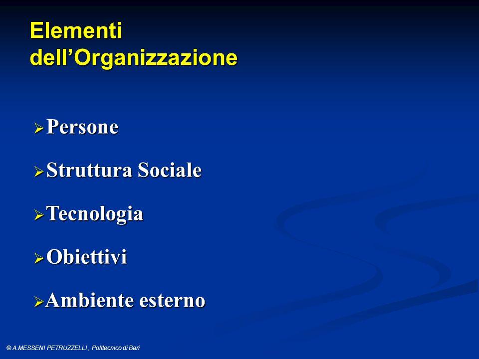 Elementi dell'Organizzazione Persone Struttura Sociale Tecnologia