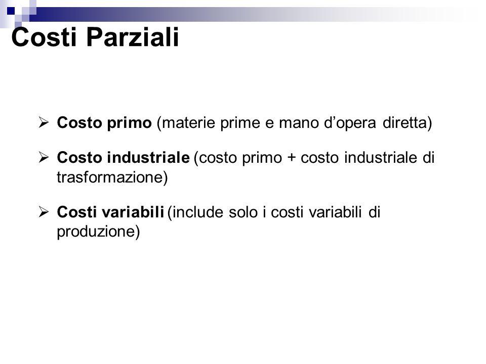 Costi Parziali Costo primo (materie prime e mano d'opera diretta)