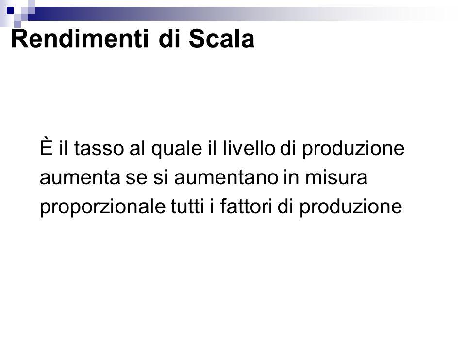Rendimenti di Scala È il tasso al quale il livello di produzione aumenta se si aumentano in misura proporzionale tutti i fattori di produzione.