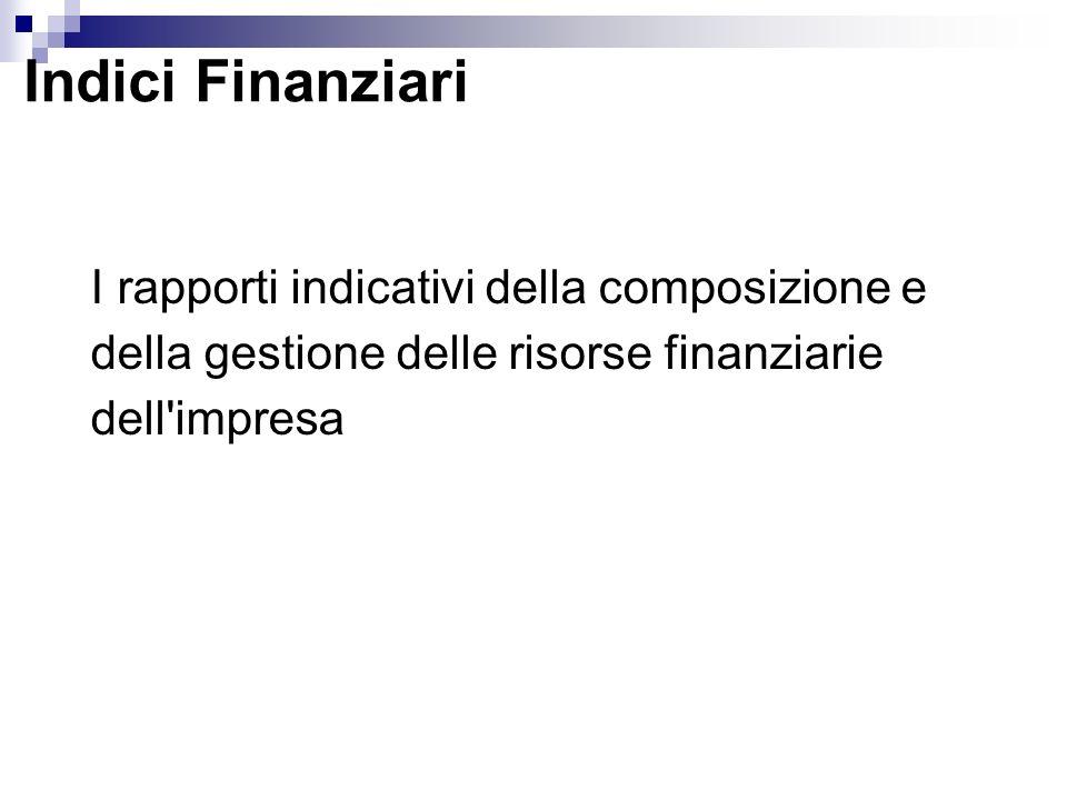 Indici Finanziari I rapporti indicativi della composizione e della gestione delle risorse finanziarie dell impresa.