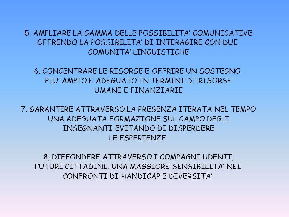 5. AMPLIARE LA GAMMA DELLE POSSIBILITA' COMUNICATIVE