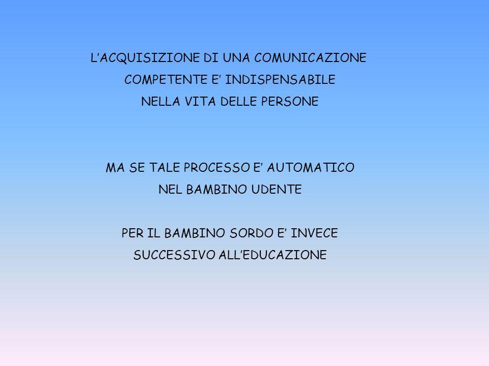 L'ACQUISIZIONE DI UNA COMUNICAZIONE COMPETENTE E' INDISPENSABILE