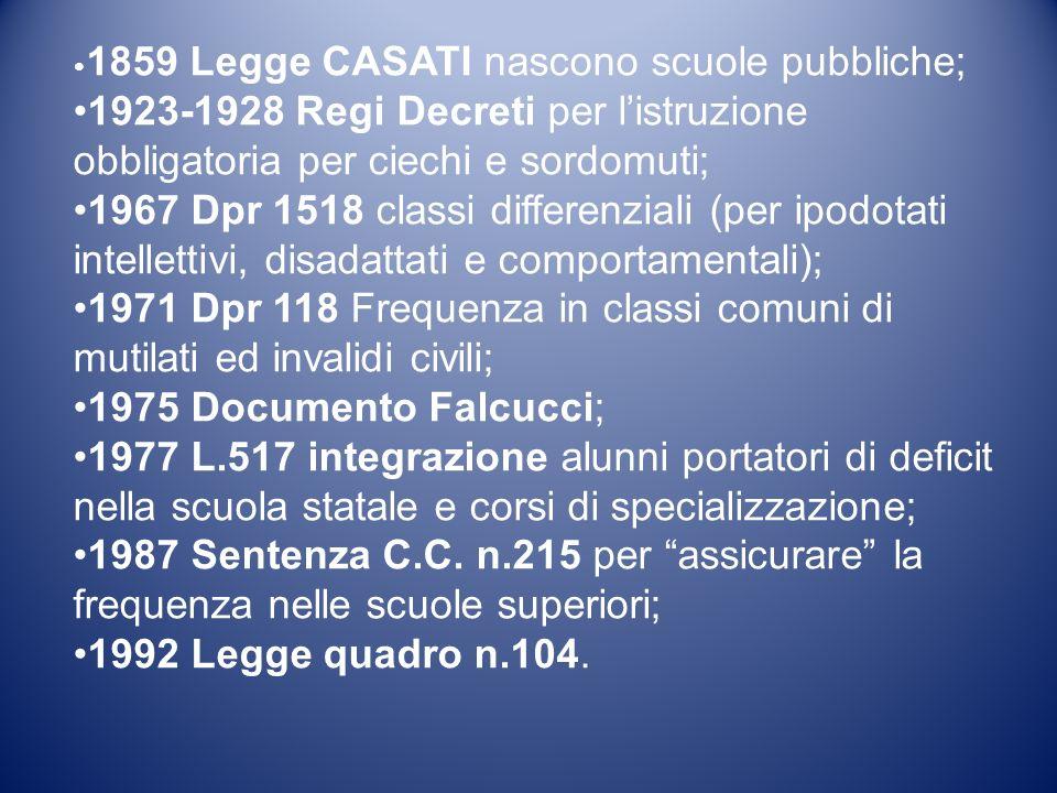 •1859 Legge CASATI nascono scuole pubbliche;