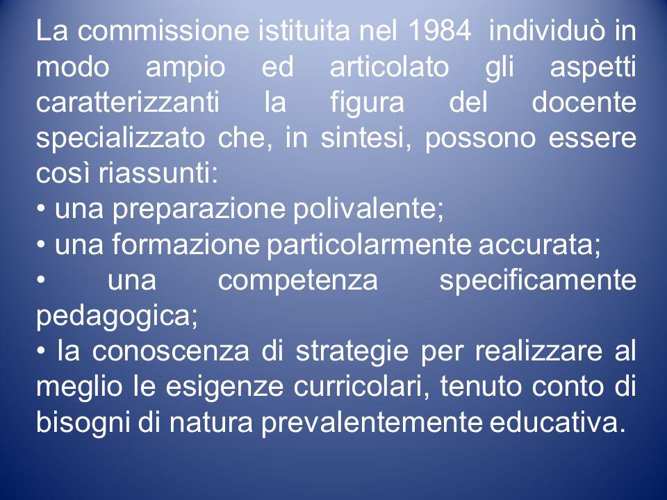 La commissione istituita nel 1984 individuò in modo ampio ed articolato gli aspetti caratterizzanti la figura del docente specializzato che, in sintesi, possono essere così riassunti: