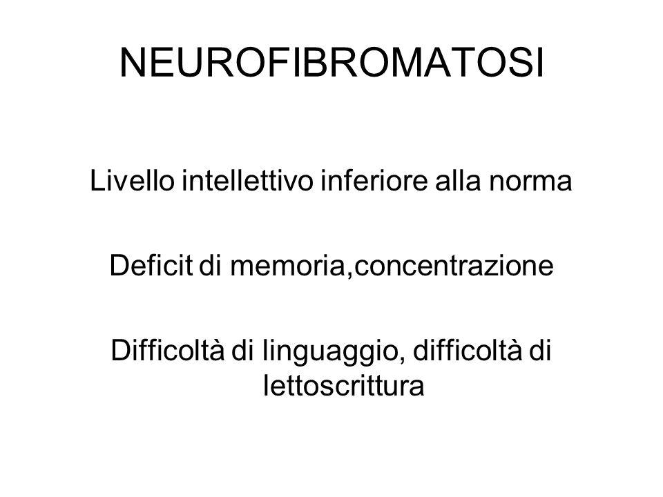 NEUROFIBROMATOSI Livello intellettivo inferiore alla norma