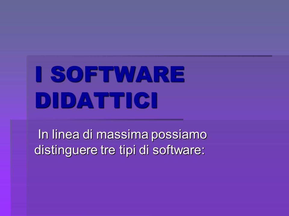 In linea di massima possiamo distinguere tre tipi di software: