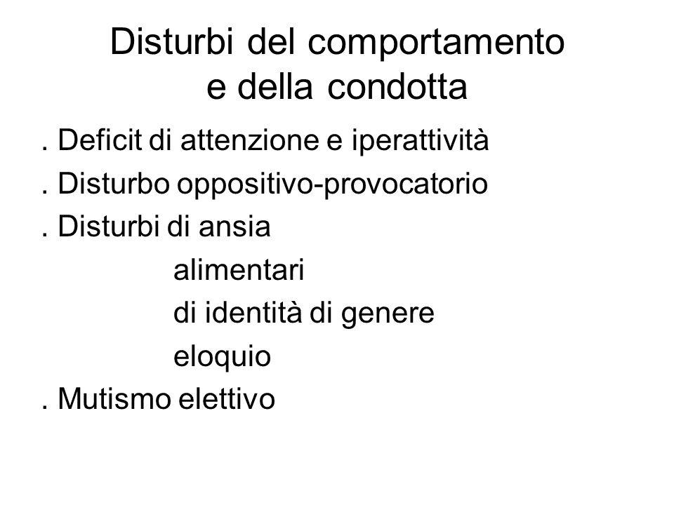 Disturbi del comportamento e della condotta
