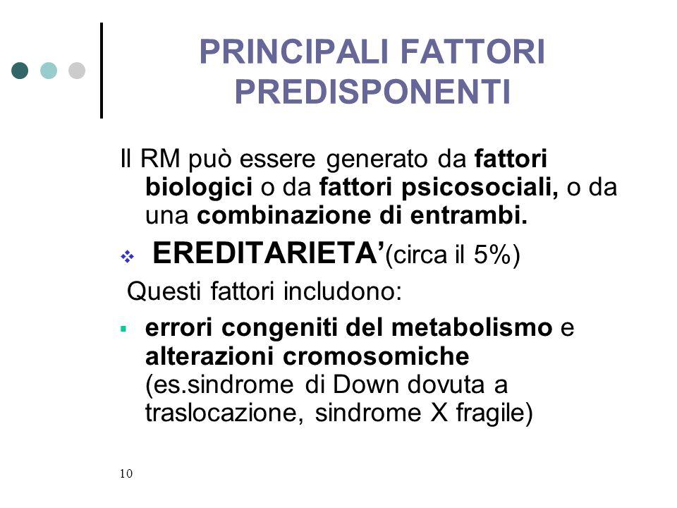 PRINCIPALI FATTORI PREDISPONENTI