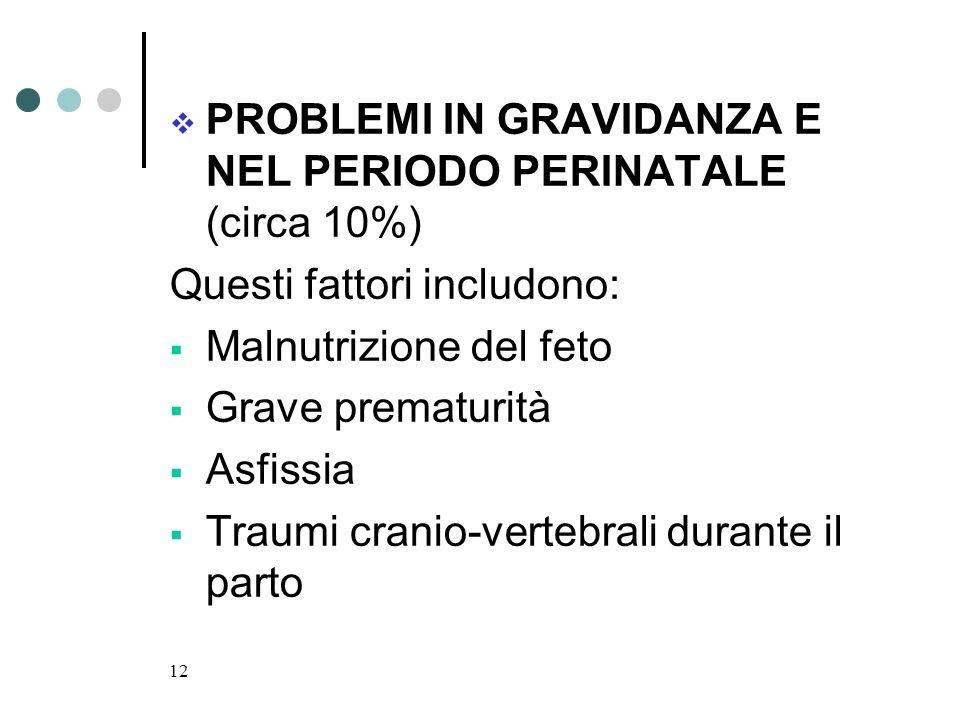 PROBLEMI IN GRAVIDANZA E NEL PERIODO PERINATALE (circa 10%)