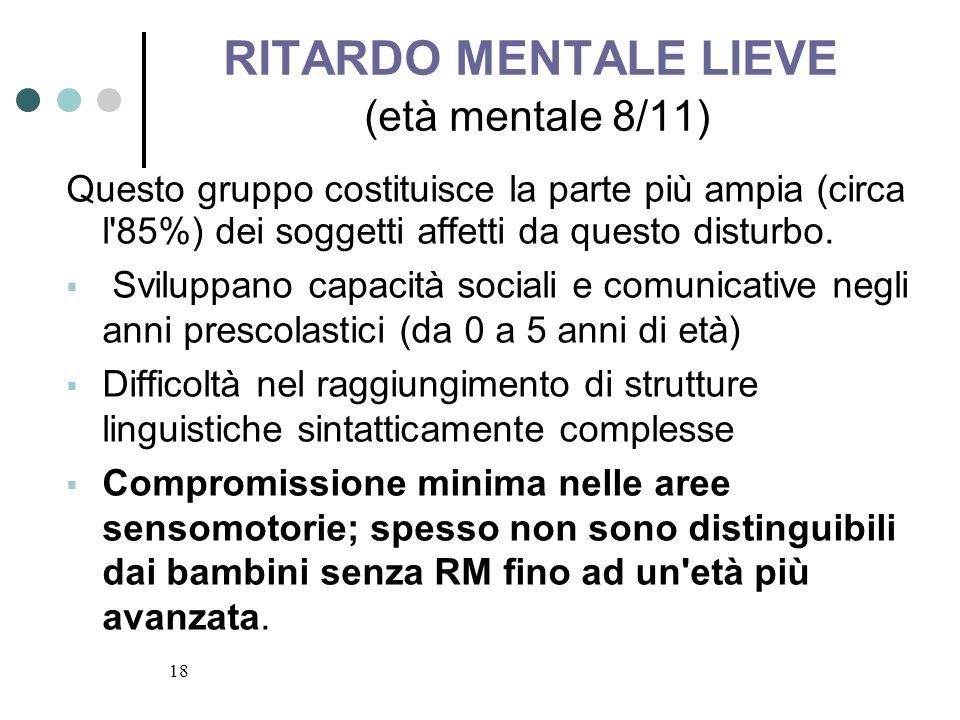 RITARDO MENTALE LIEVE (età mentale 8/11)