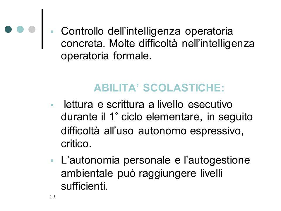 ABILITA' SCOLASTICHE: