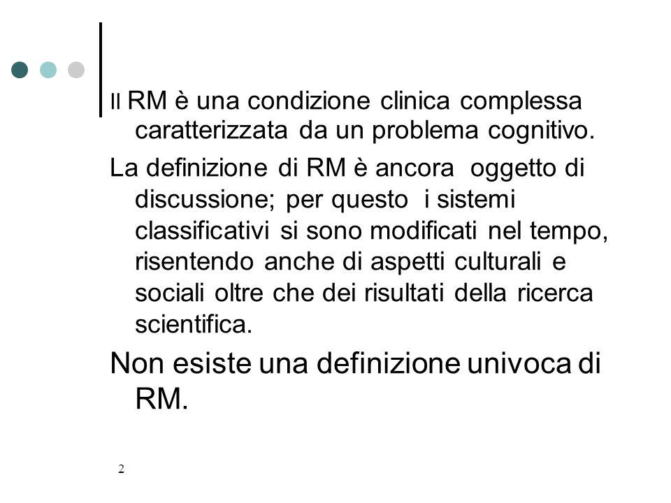 Non esiste una definizione univoca di RM.