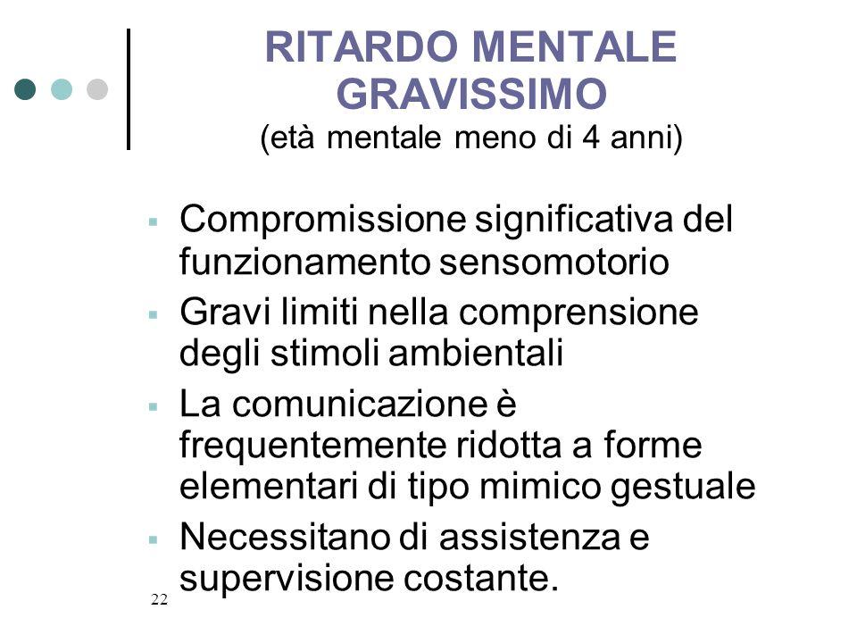 RITARDO MENTALE GRAVISSIMO (età mentale meno di 4 anni)