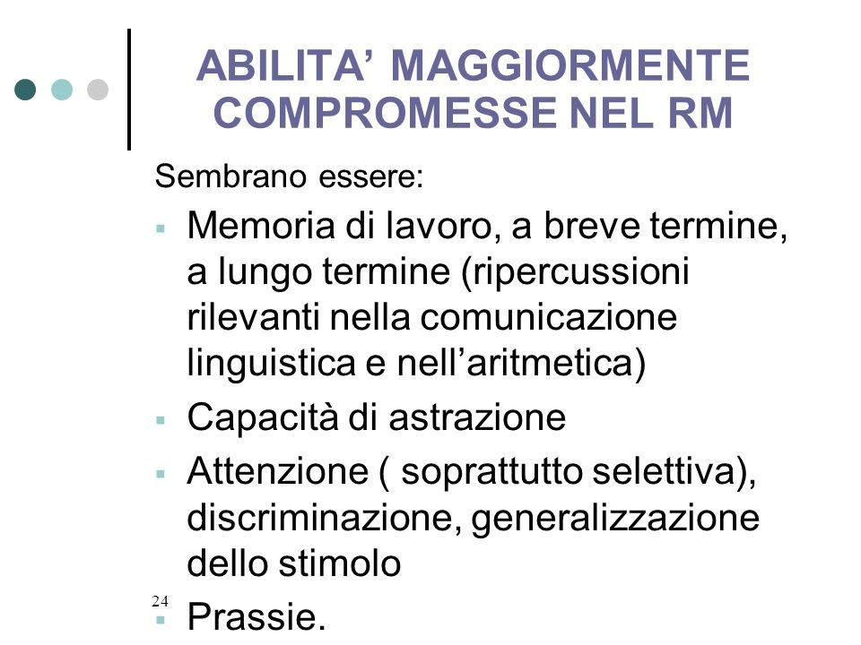 ABILITA' MAGGIORMENTE COMPROMESSE NEL RM