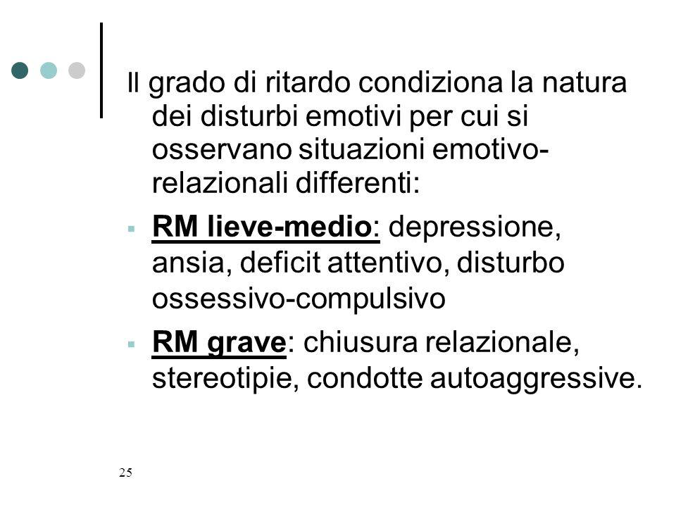 RM grave: chiusura relazionale, stereotipie, condotte autoaggressive.
