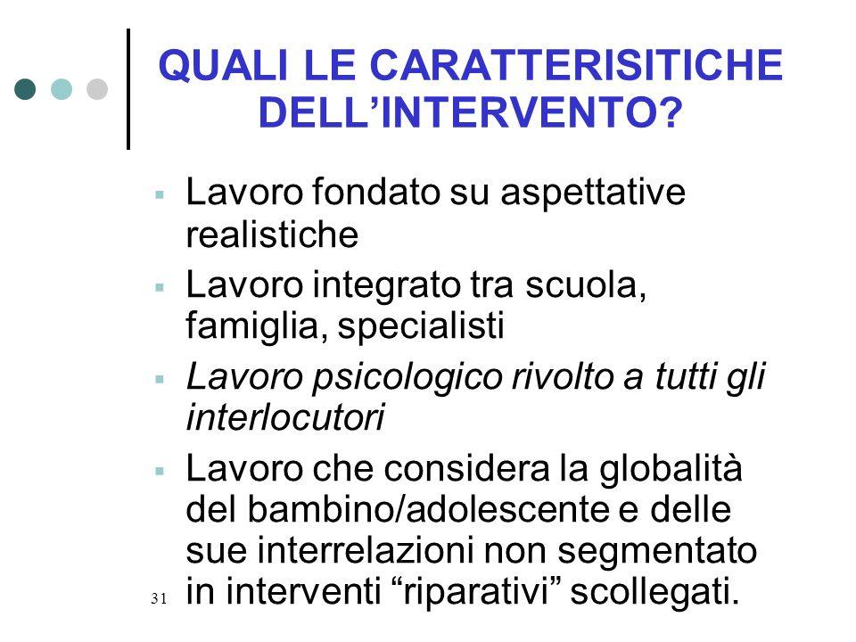 QUALI LE CARATTERISITICHE DELL'INTERVENTO