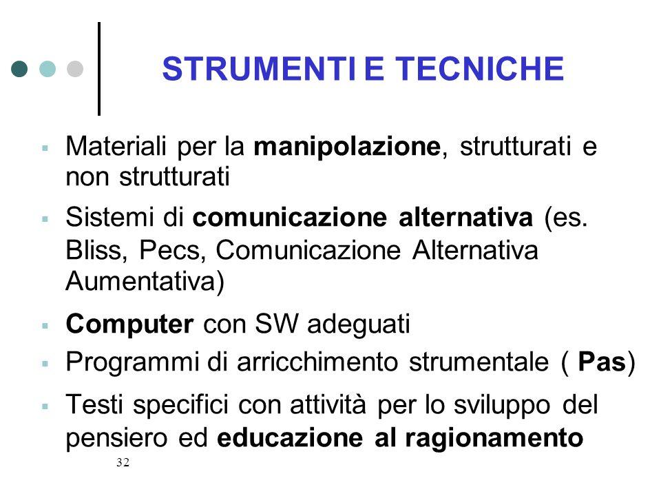 STRUMENTI E TECNICHEMateriali per la manipolazione, strutturati e non strutturati.