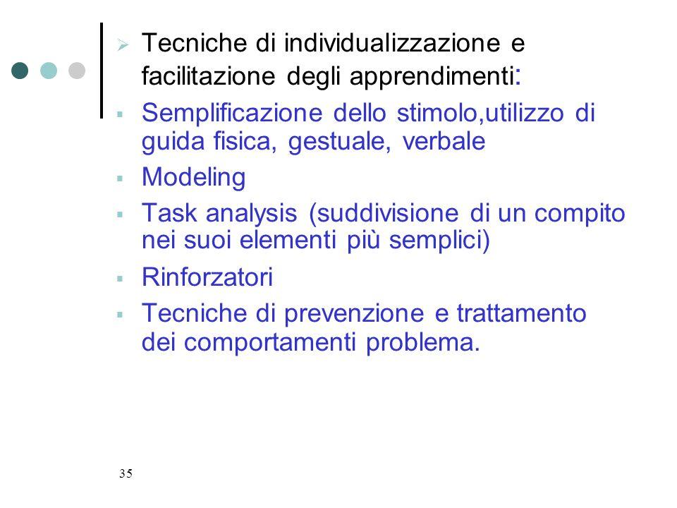 Tecniche di individualizzazione e facilitazione degli apprendimenti:
