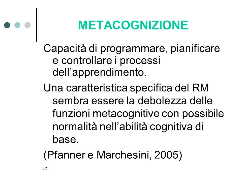 METACOGNIZIONECapacità di programmare, pianificare e controllare i processi dell'apprendimento.