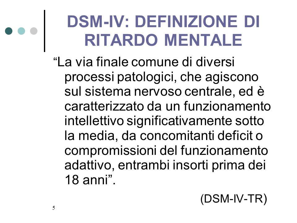 DSM-IV: DEFINIZIONE DI RITARDO MENTALE