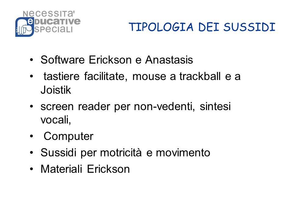 TIPOLOGIA DEI SUSSIDI Software Erickson e Anastasis. tastiere facilitate, mouse a trackball e a Joistik.