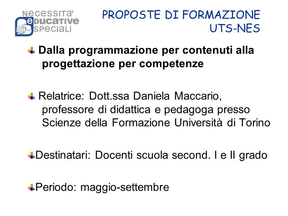 PROPOSTE DI FORMAZIONE UTS-NES