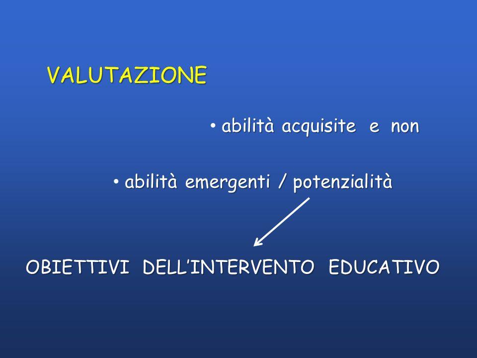 VALUTAZIONE abilità acquisite e non abilità emergenti / potenzialità