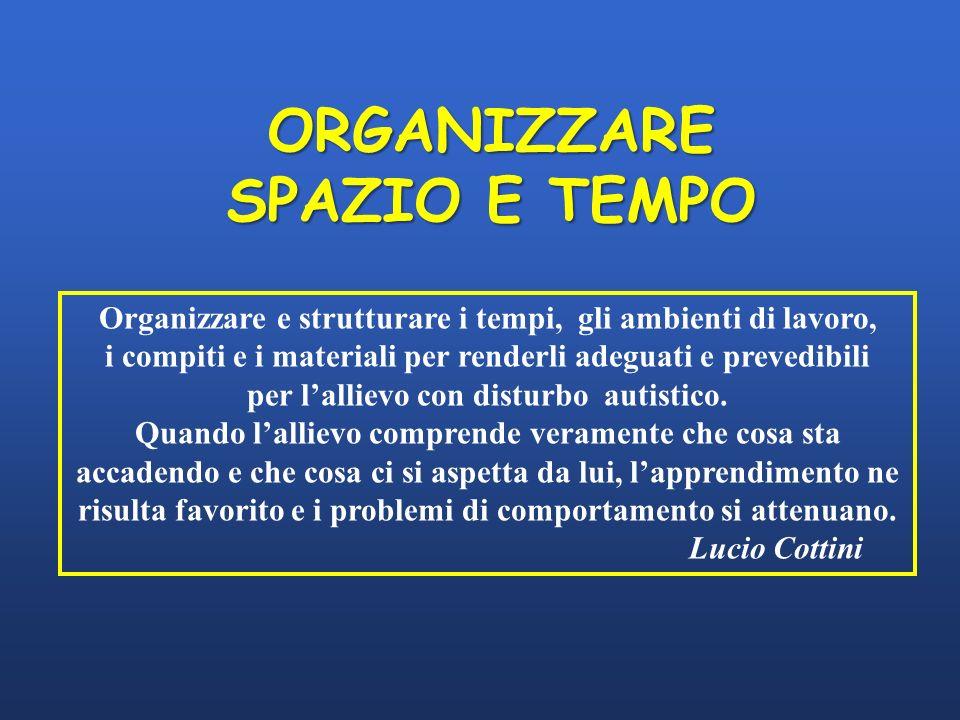 Organizzare e strutturare i tempi, gli ambienti di lavoro,