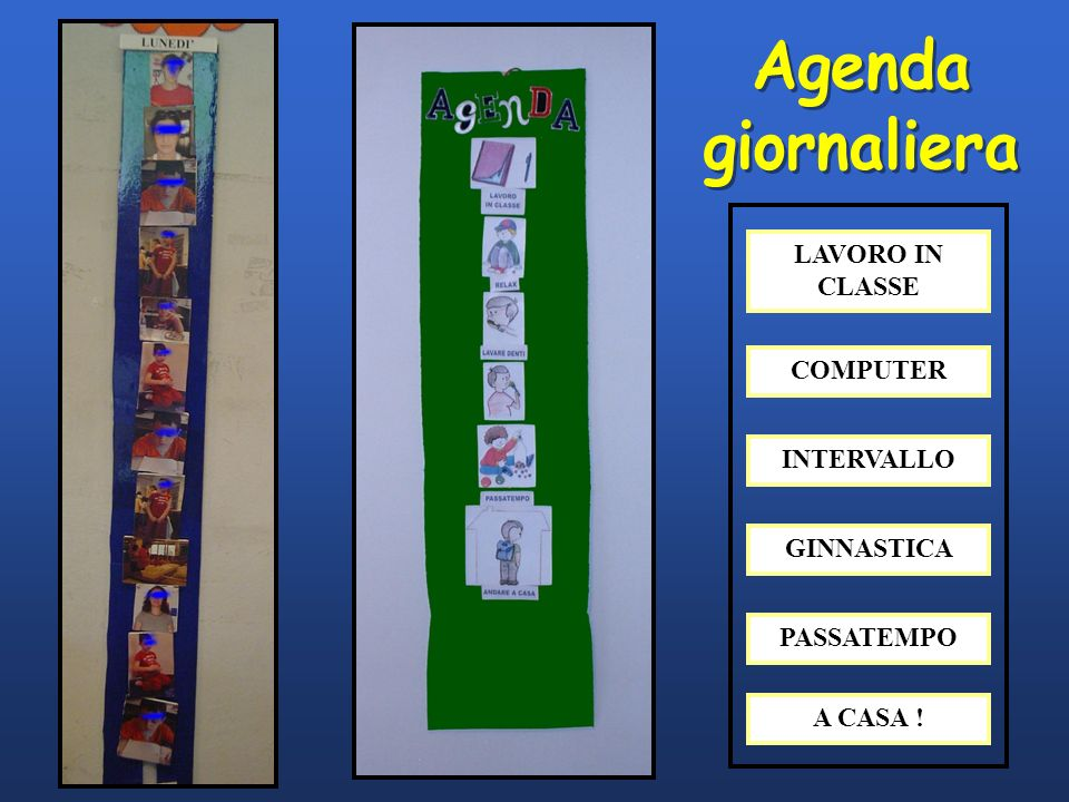 Agenda giornaliera LAVORO IN CLASSE COMPUTER INTERVALLO GINNASTICA